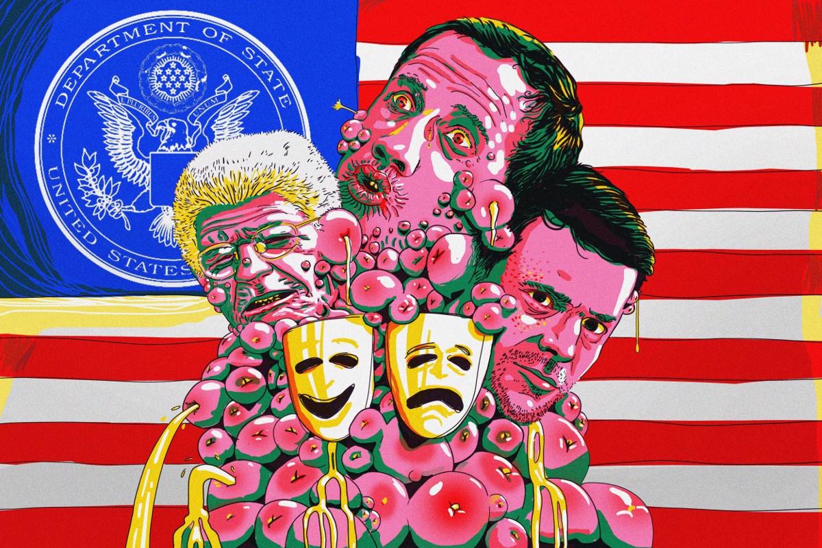 "Venezuelan artist Daniel Duque's depiction of the ""tragicomic"" US-backed opposition. (Venezuelanalysis)"
