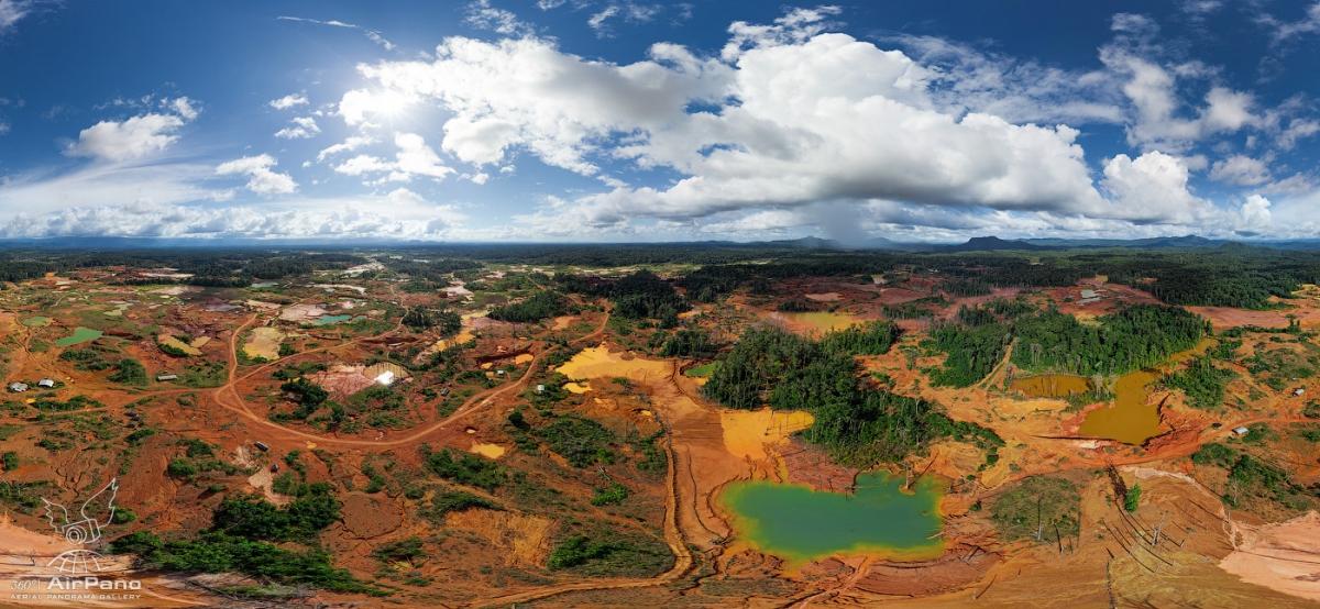 An aerial photo of a mine near Angel Falls in Bolivar state, Venezuela. (AirPano)