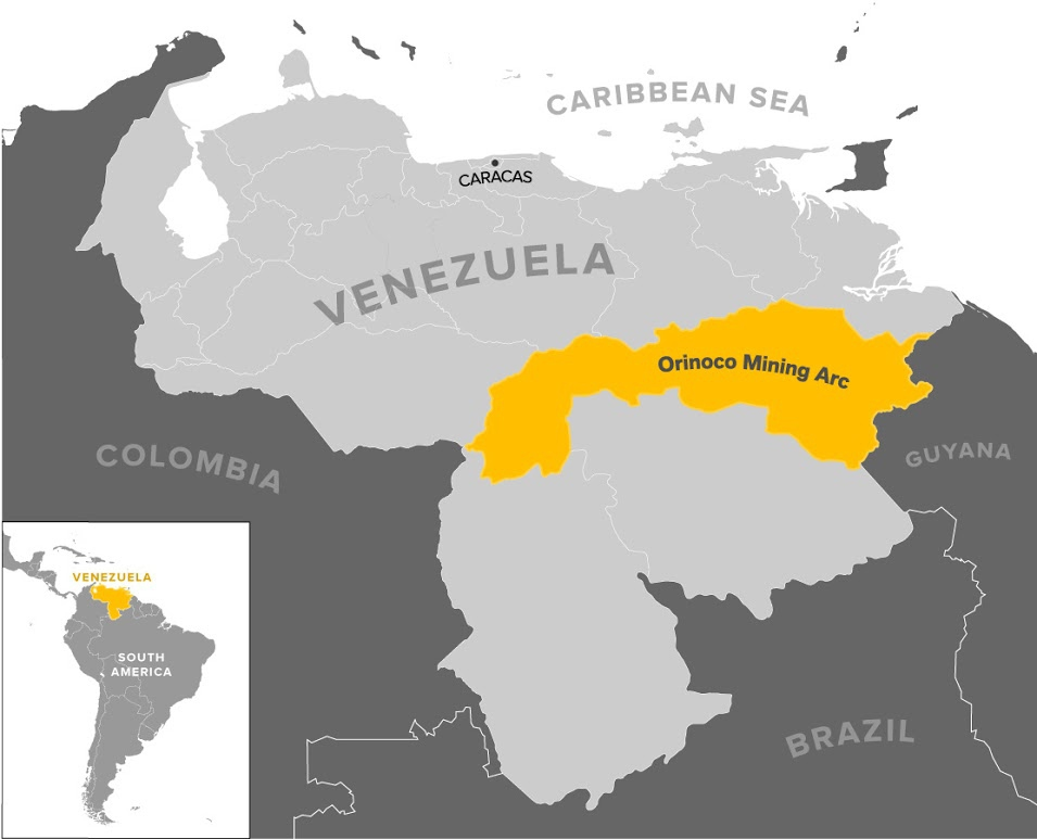 Map of the Orinoco Mining Arc, which amounts to 111,800 square km or 12% of the national territory. (Mining Press)