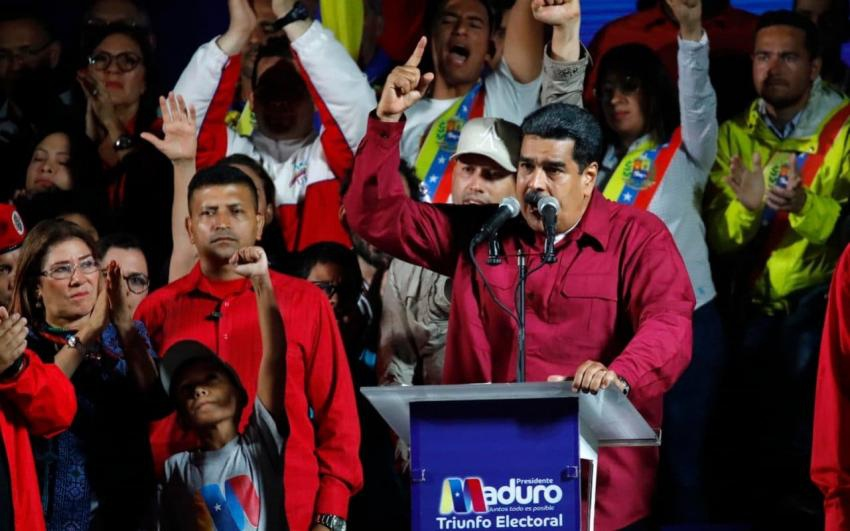 President Nicolas Maduro celebrates with supporters in Caracas after winning the May 20 presidential election (Green Left Weekly)