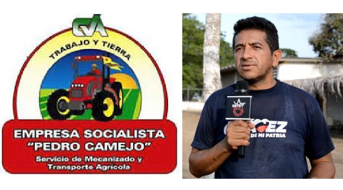 (Left) Pedro Camejo logo; (Right) Aroldo Pérez, spokesperson from Rio Buchi Commune in Portuguesa State (TatuyTV)