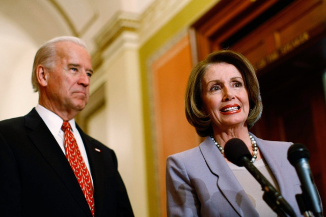 Democrats Nancy Pelosi and Joe Biden have fallen in line behind Trump on Venezuela (Win McNamee)