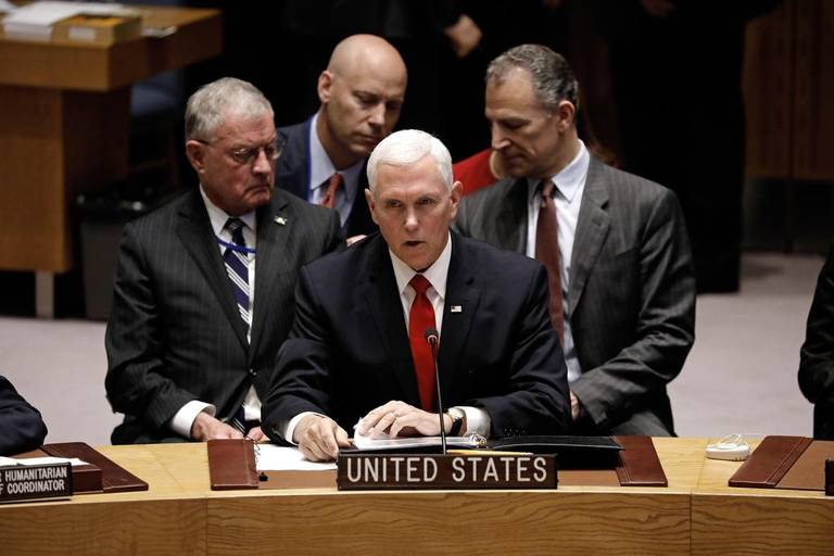 US VP Mike Pence called on the UN to recognize Guaido as Venezuela's president. (EFE)