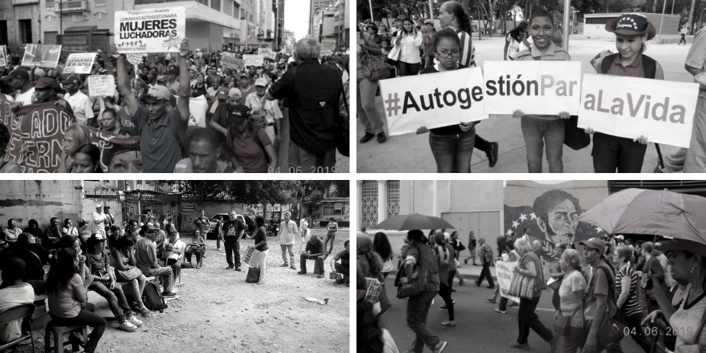 "Upper left and lower right: Marches of the Movimiento de Pobladores. Upper right: Pobladores militants hold a sign reading ""Self-management for life."" Lower left: Pobladores assembly. (Movimiento de Pobladores)"