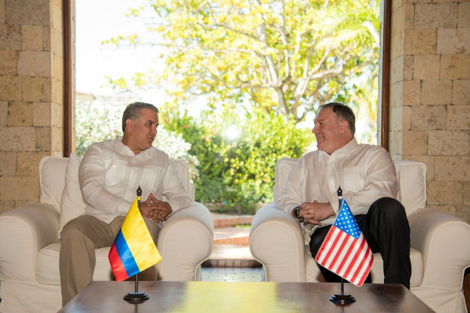 Colombian President Ivan Duque hosted US Secretary of State Mike Pompeo in Cartagena this week. (Colombian Presidency)