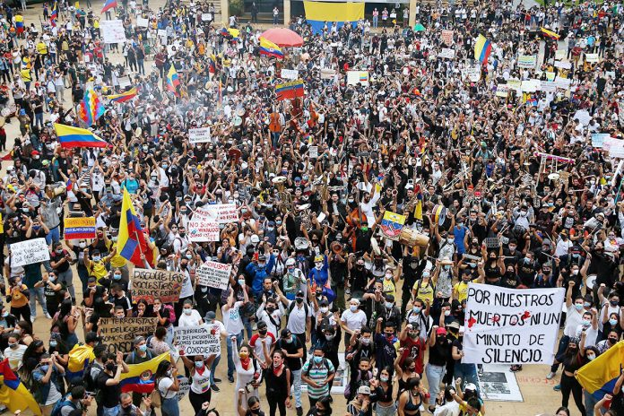 Colombians have taken to the streets en masse in recent days to protest a range of issues. (EFE)