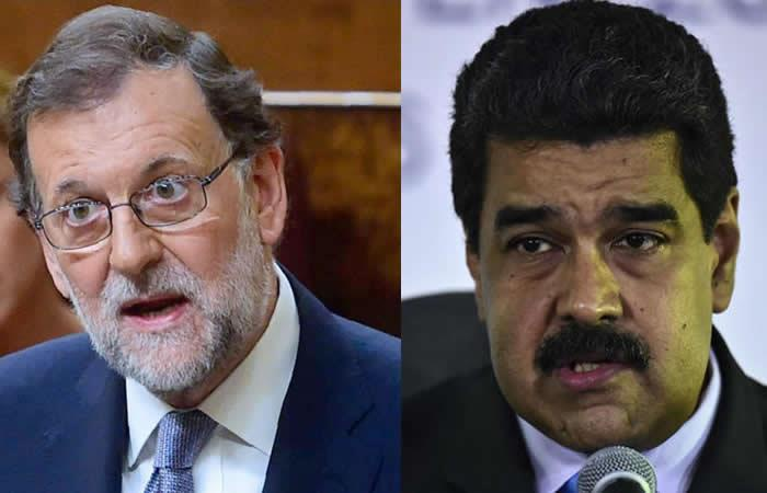 Spanish Prime Minister Mariano Rajoy (L) and Venezuelan President Nicolas Maduro (R) have traded barbs over recent EU sanctions on officials in Caracas. (AFP)