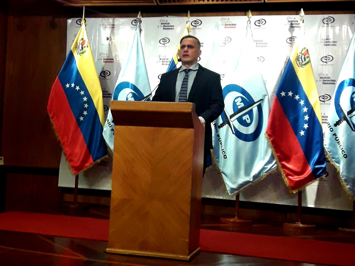 Attorney General Tarek William Saab speaks during a press conference at his office's headquarters in Caracas.  (Twitter/ @MinpublicoVE)