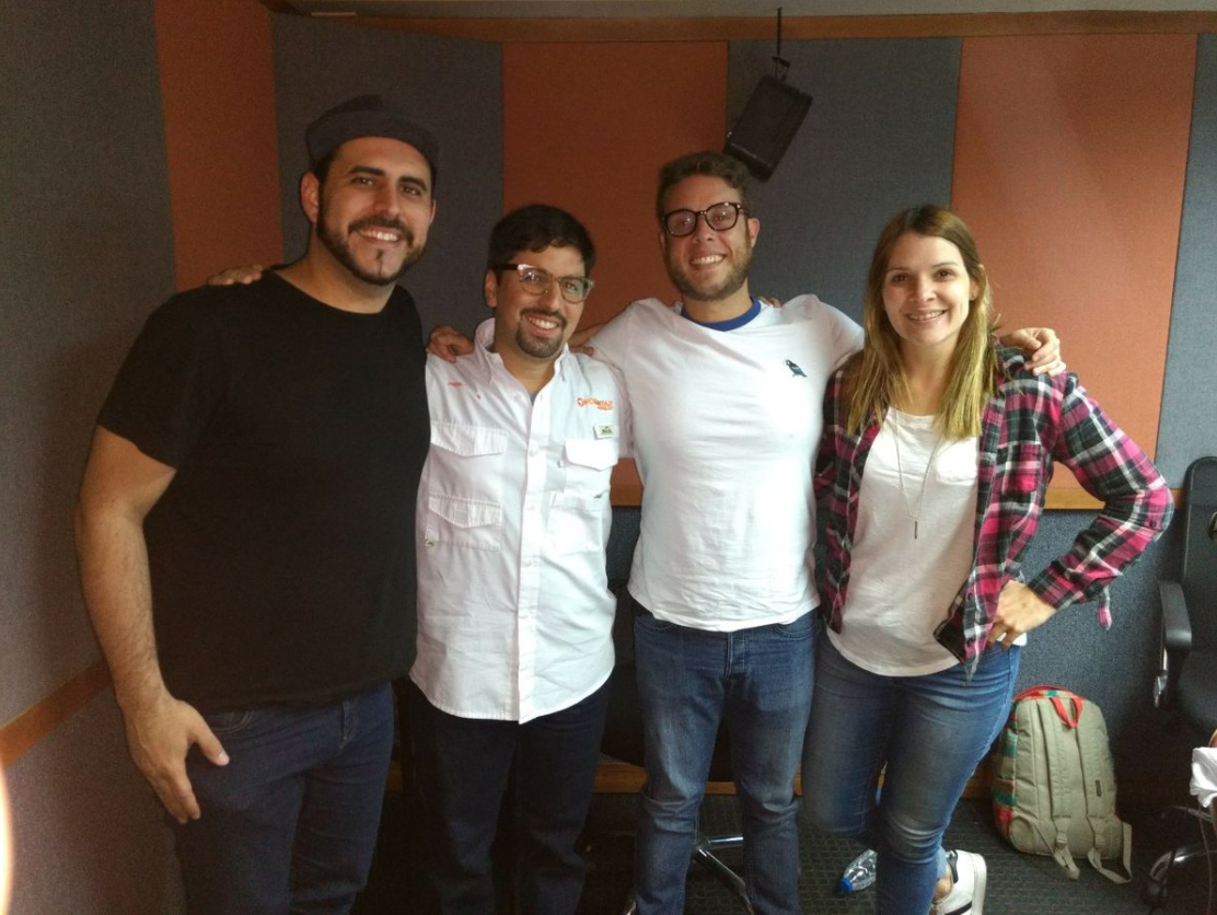 Rightwing politician Freddy Guevara with the hosts of Calm Down People radio show