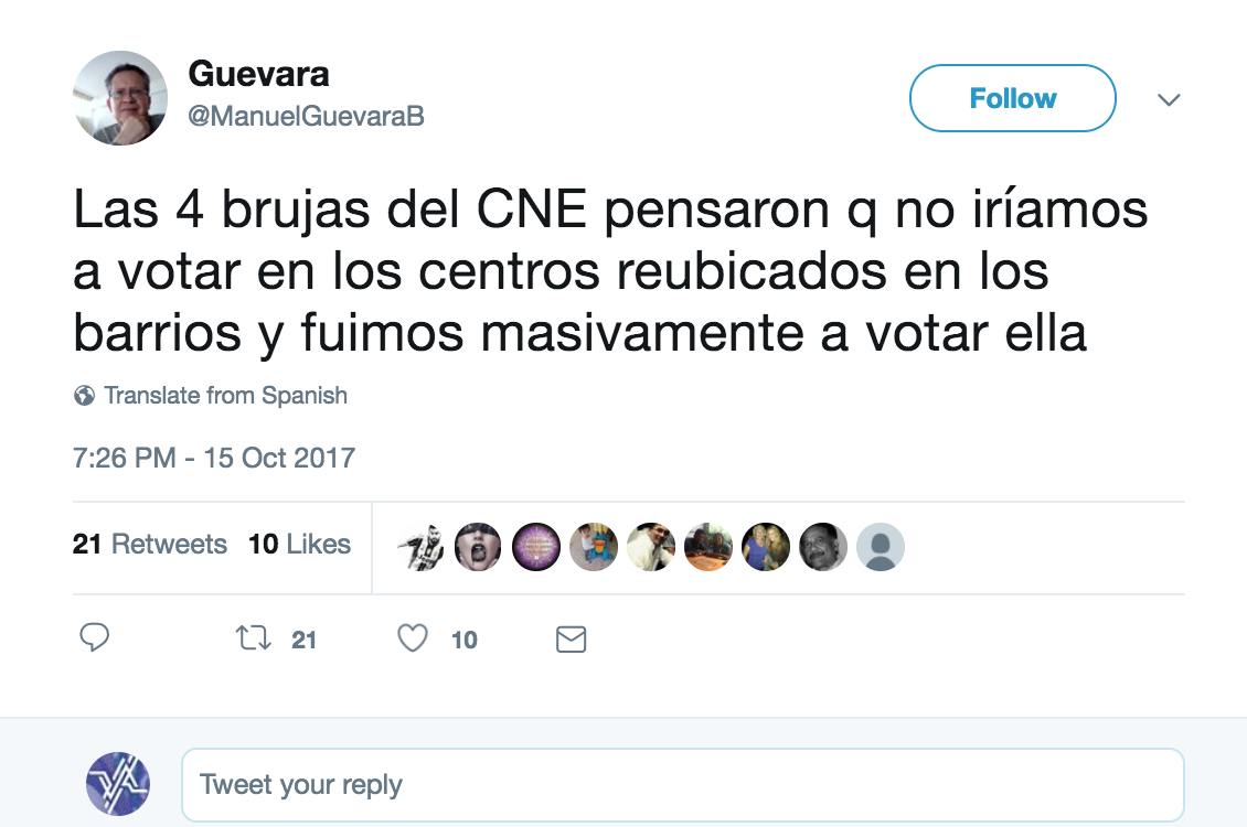 "Opposition commentator Manuel Guevara: ""The four witches of the CNE thought that we wouldn't turn out to vote in the relocated centres in the barrios, we went out to vote massively""."