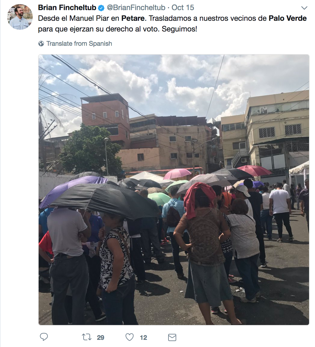 "Brian Fincheltub, Secretary General of First Justice party in Sucre. Tweet reads: ""From the Manuel Piar in Petare. We are transporting our neighbours to exercise their right to vote""."