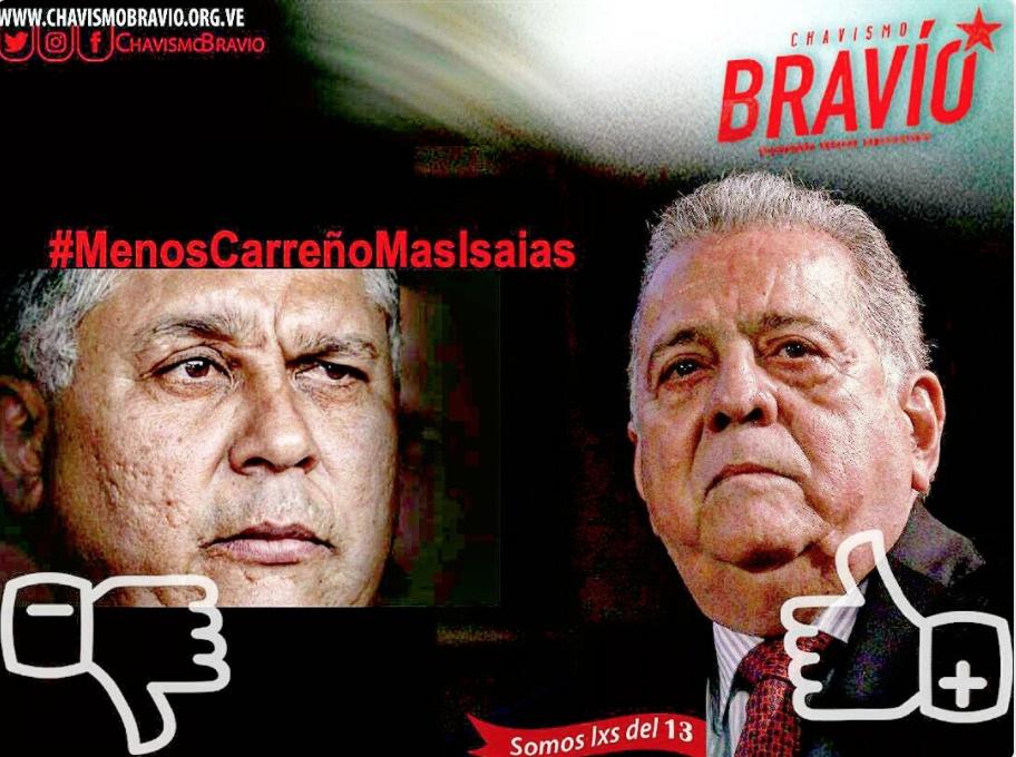 #LessCarreñosMoreIsaias was a trending hashtag on social media. (ChavismoBravio/Twitter)