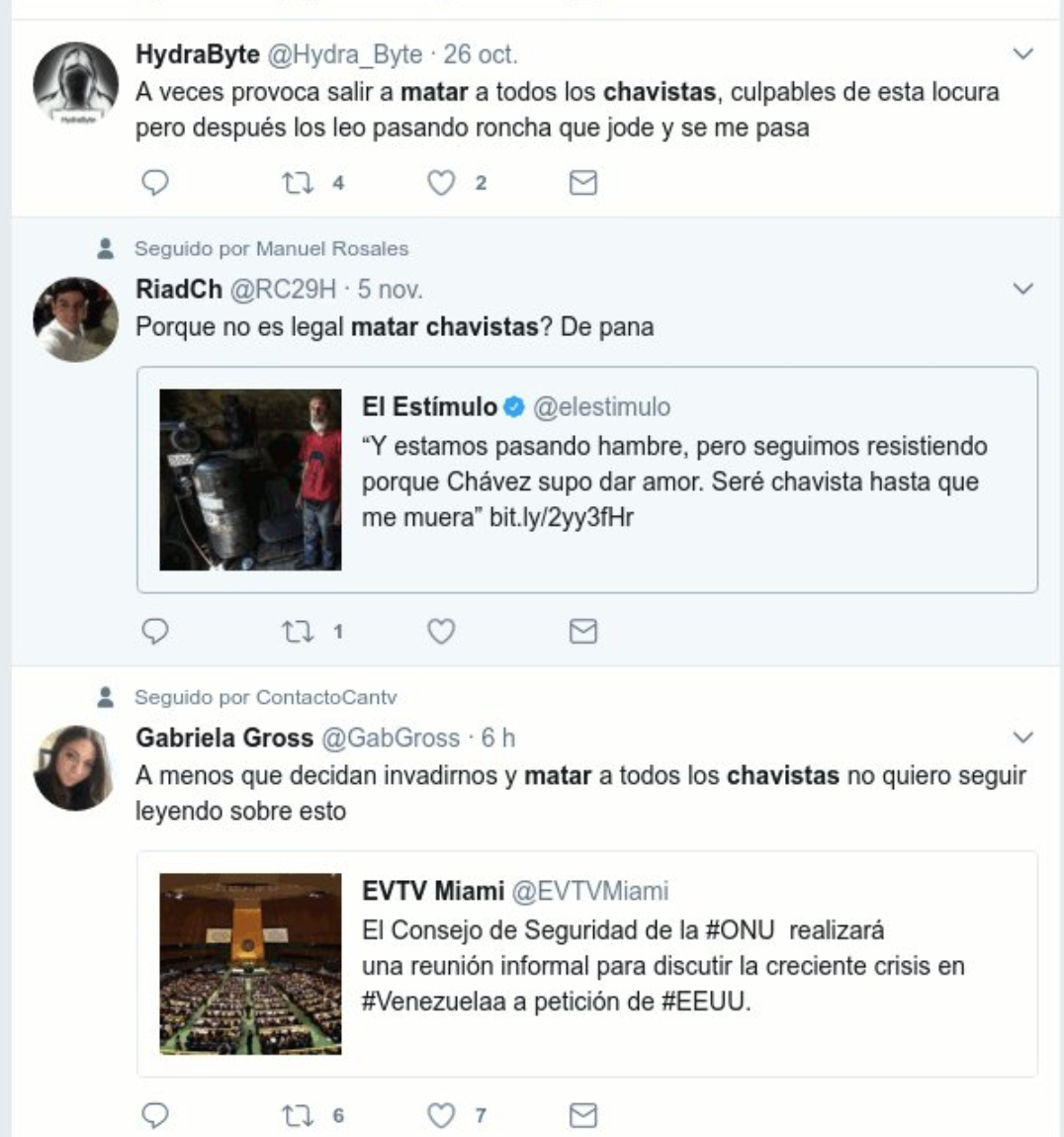 "One Twitter user asks why it isn't legal to kill Chavistas, another states that he sometimes feels like ""going out and killing Chavistas,"" and a third says she is uninterested in the UN Security Council's decisions unless they include an ""invasion and killing all Chavistas"".  (Luigino Bracci Roa/Twitter)"
