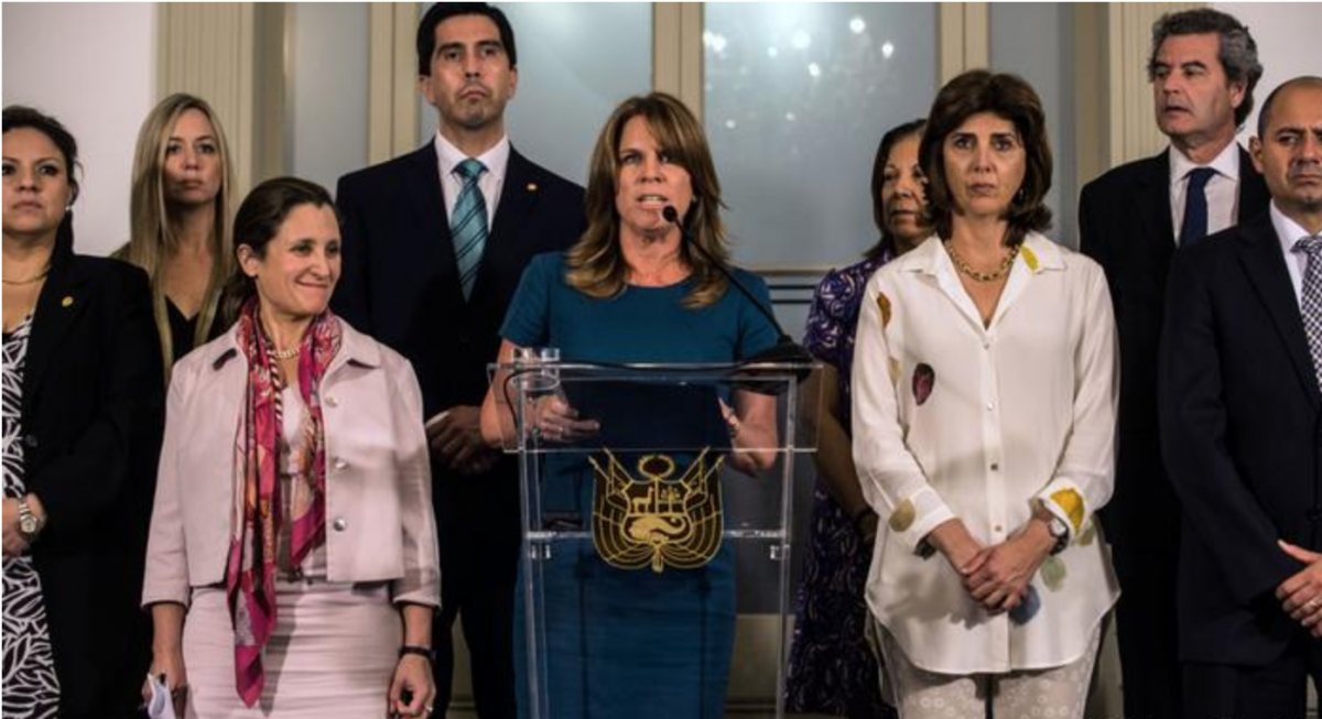 Peruvian Foreign Minister Cayetana Aljovin said that her government had withdrawn the invitation to Venezuela to attend the summit, and was backed by the Lima Group. (GettyImages)