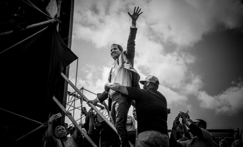 Juan Guaidó engages supporters in Caracas, Venezuela, on February 2, 2019. (Getty Images)