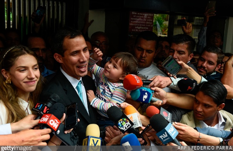 Juan Guaido in a press conference. (Getty Images)
