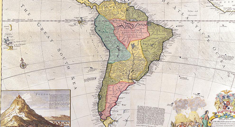 Political‐territorial division of Latin America circa 1750 (Archive)