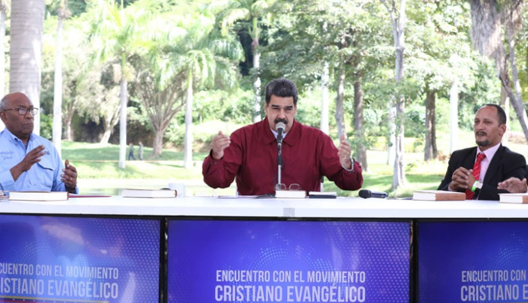 President Nicolas Maduro talks at a recent televised meeting with Venezuelan Evangelical leaders, during which he approved the creation of the country's first Evangelical University. (Venevision)