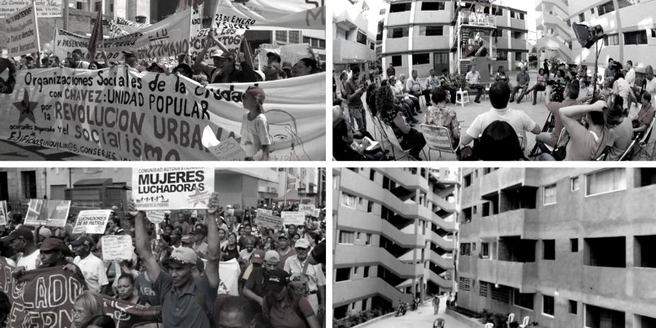 Upper left and lower left: Movimiento de Pobladores marches in Caracas. Upper right and lower right: Campamento de Pioneros Kaika Shi, Caracas. (Movimiento de Pobladores)