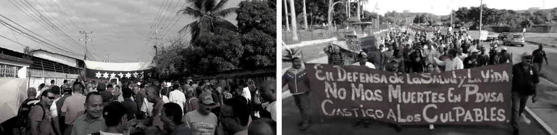 Left: PDVSA workers protest in Zulia state for living wages (Tal Cual). Right: PDVSA workers demand health coverage. (Archives)