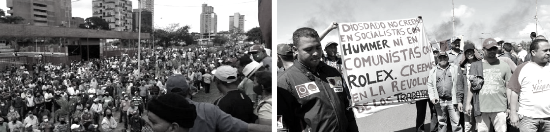 """Left: SIDOR workers protest (Izquierda Diario). Right: SIDOR workers hold a sign that reads """"Diosdado, we don't want socialists with a Hummer nor communists with a Rolex. We believe in the worker's revolution."""