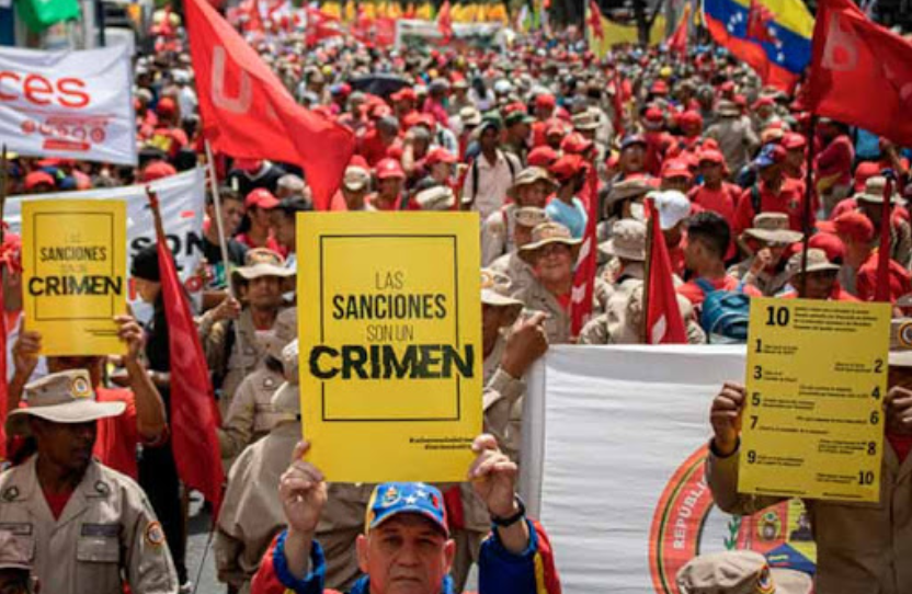 An anti-sanctions protest in Caracas, February 2020. (Ciudad Valencia)