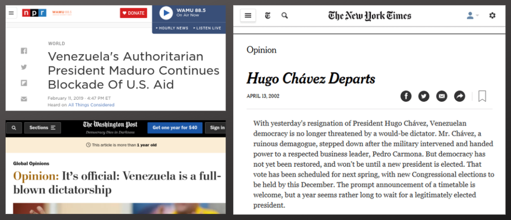 """NPR, The Washington Post, The New York Times, and their """"unbiased"""" coverage of Venezuela. (Archives)"""