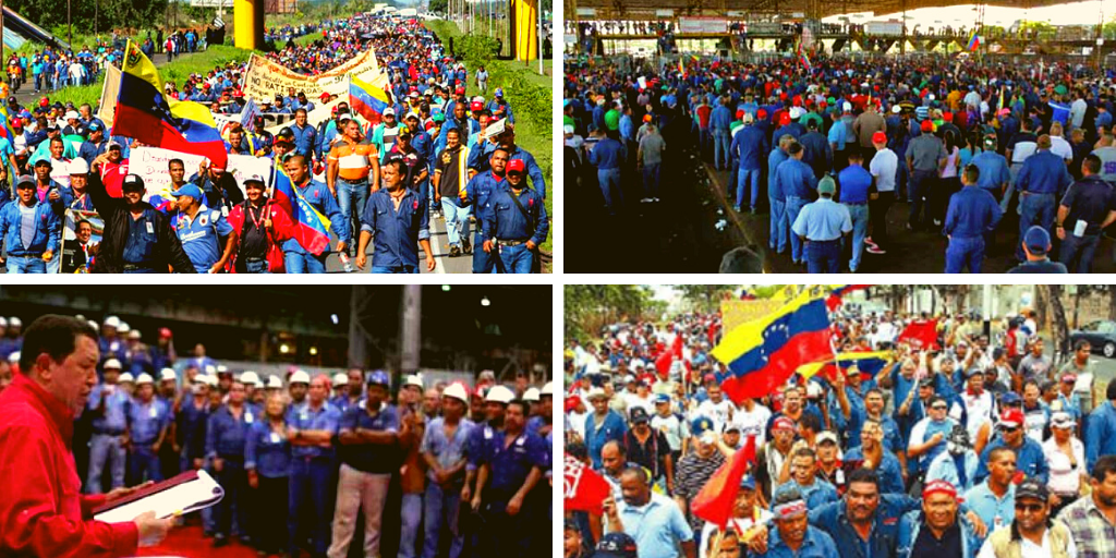 Upper left and lower right: Sidor workers protest, 2007. Upper right: Sidor workers production stoppage, 2008. Lower left: Hugo Chávez reads the decree nationalizing Sidor, 2008. (Archives)