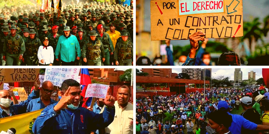 Upper left: President Nicolás Maduro visits Sidor, 2020 (Prensa Presidencial). Upper right and lower left and right: Sidor workers protests in 2020 and 2021 (La Izquierda Diario)