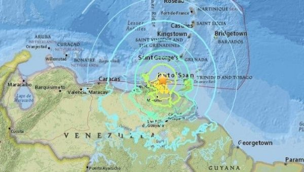 The epicentre was in Sucre state, but it was felt in nearly all of Venezuela. (USGS)