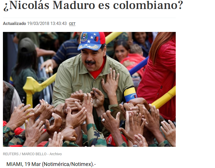 For years, the opposition has falsely claimed that President Maduro isn't Venezuelan. (Notimérica/screenshot)