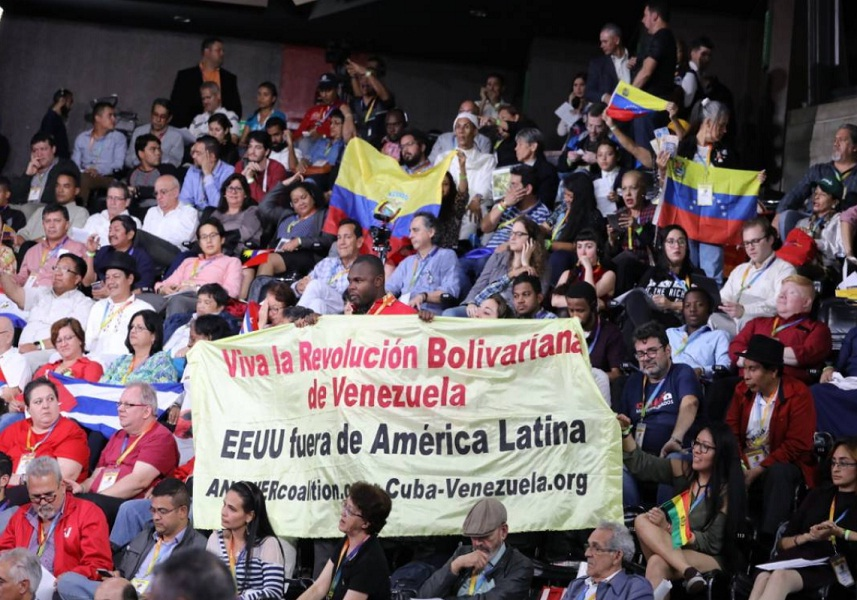 "Over 800 international activists participated in Venezuela's second ""We Are All Venezuela"" summit, aimed at promoting international solidarity with the Bolivarian Revolution. (MINCI)"