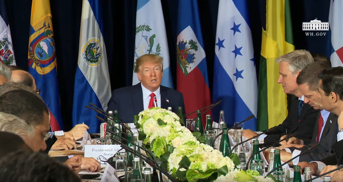 "Donald Trump held a meeting with regional allies and representatives of self-proclaimed ""Interim President"" Juan Guaido. (Youtube Screenshot / White House)"