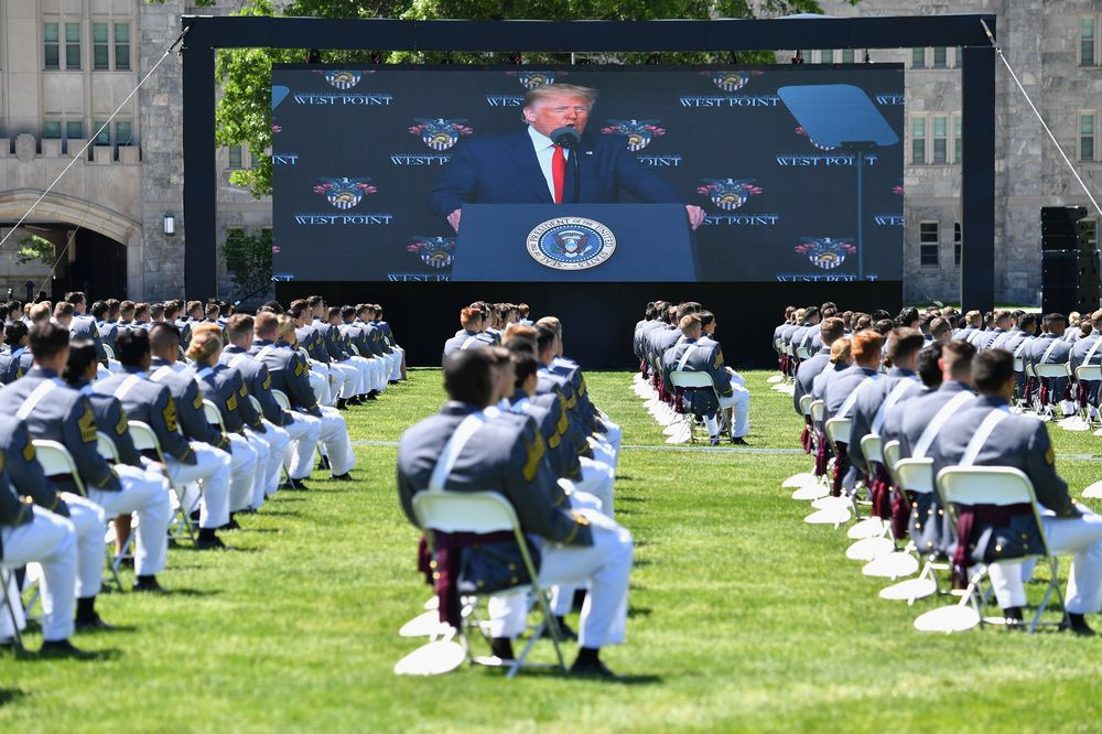 Donald Trump delivers the commencement address at the 2020 US Military Academy Graduation Ceremony at West Point, New York. (Nicholas Kamm/AFP)