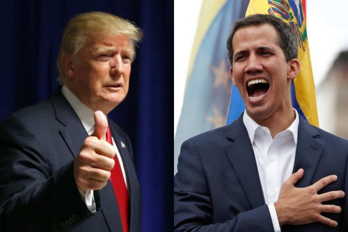 "Donald Trump immediately recognized Juan Guaido after he swore himself in as ""interim president"" (Reuters)"