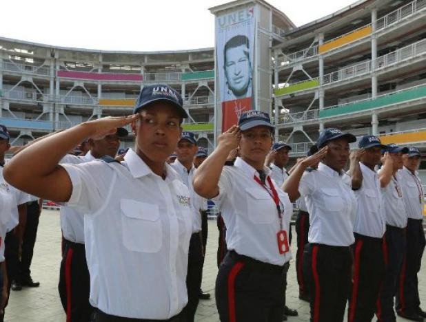 """Hugo Chavez inaugurated the UNES (security university) in 2009 with the aim of offering a """"humanist education"""" which would, in turn, lead to a new police culture. (UNES)"""