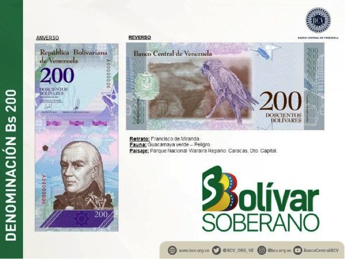 The Sovereign Bolivar will go into effect on June 4