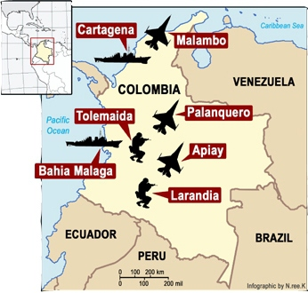 In October, 2009, the US signed a ten year contract with Colombia for access to seven military bases.(soaw.org)