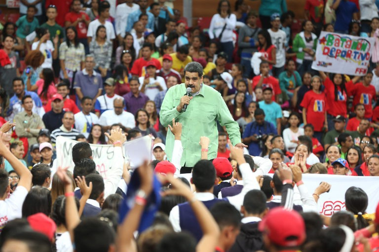 President Maduro addresses youth organizations as part of the launch of his reelection campaign in Caracas on January 26. (Prensa Presidencial)