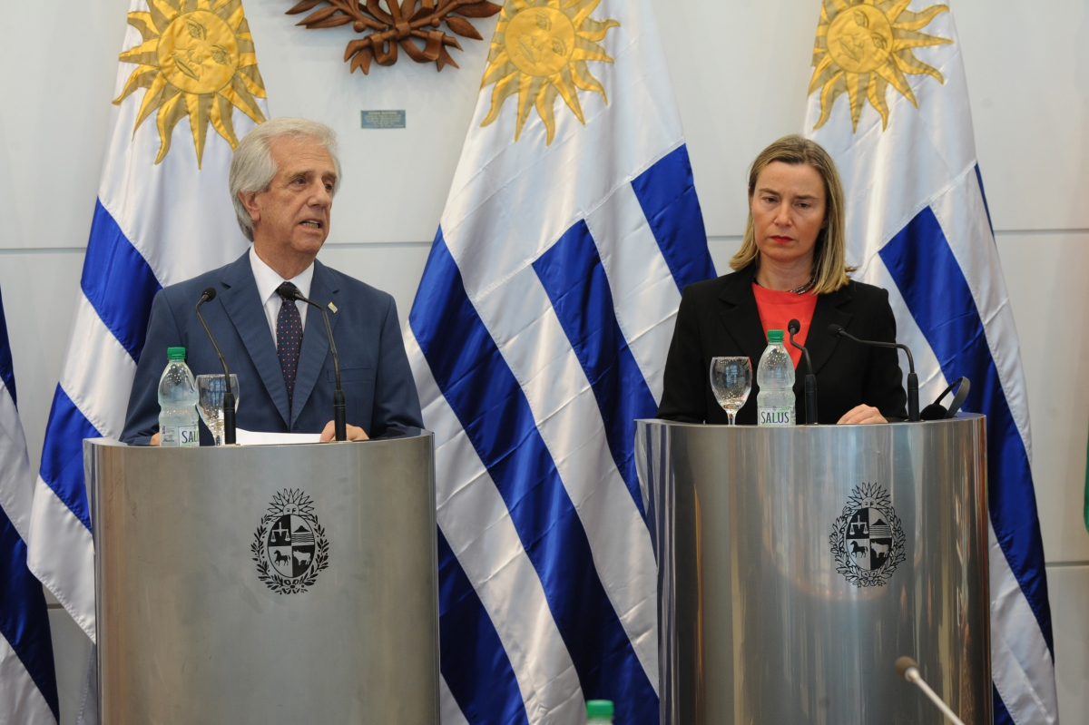 Uruguayan President Tabare Vazquez and EU Foreign Policy Representative Federica Mogherini chaired the meeting in Montevideo (Uruguay Presidency)