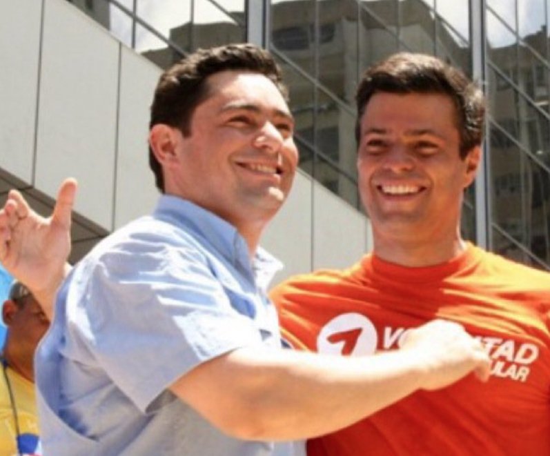 Carlos Vecchio (L) and Leopoldo Lopez at a Popular Will party rally. (Archive)