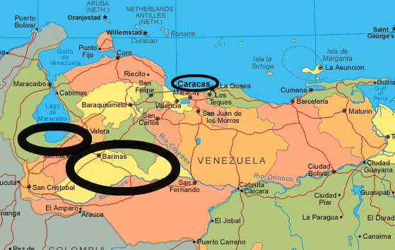 Map of the north of Venezuela that shows hotspots of campesino struggle (Barinas and Sur del Lago). Both areas are circled, as is Caracas. (Venezuelanalysis)