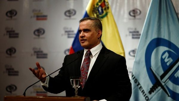 Venezuela's Chief Prosecutor Tarek William Saab talks to the media during a news conference in Caracas, Venezuela, May 3, 2018. (Reuters)