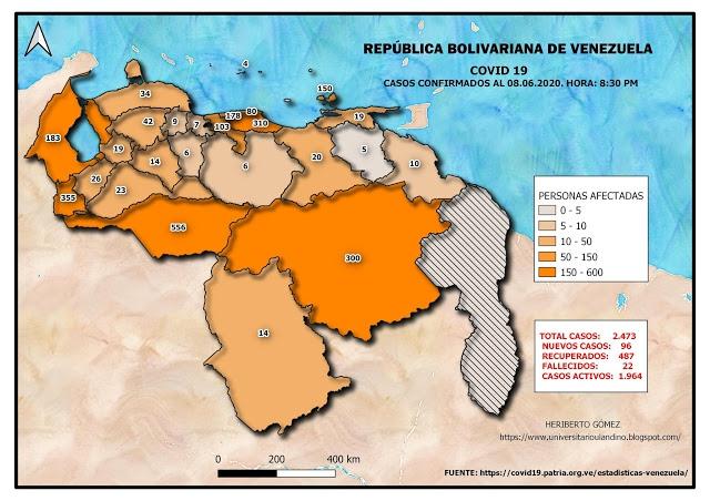 COVID-19 cases in Venezuela per state as of June 8, 2020. (ULA / covid19.patria.org.ve)