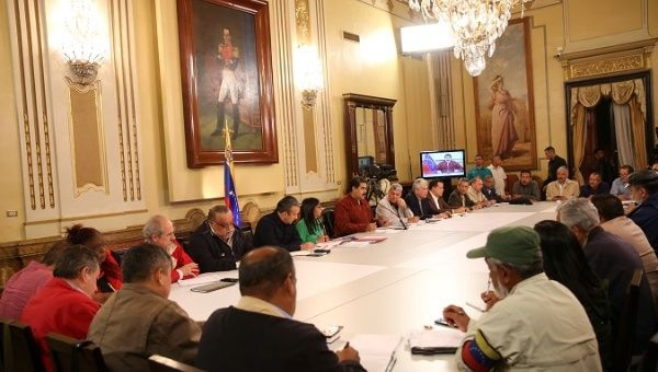 President Nicolas Maduro speaking during a meeting with union representatives in Caracas. (Reuters)