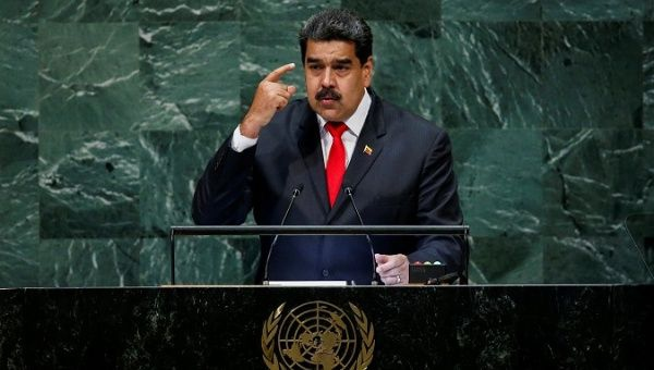 Venezuela's President Nicolas Maduro addresses the 73rd session of the United Nations General Assembly at the U.N. headquarters in New York, U.S., Sept. 26, 2018. (Reuters)