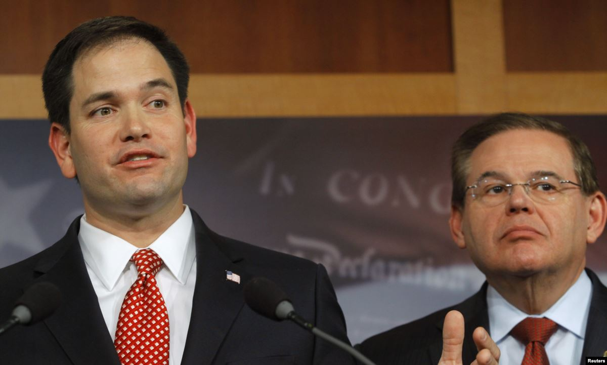 The VERDAD Act was co-sponsored by Marco Rubio (R, left) and Robert Menendez (D, right). (Reuters)