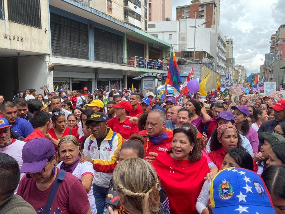 Women and Gender Equality Minister Asia Villegas, Education Minister Aristóbolo Isturíz and ANC President Diosdado Cabello showed their support for the elimination of violence against women, joining the November 25 mobilization. (@minmujer)