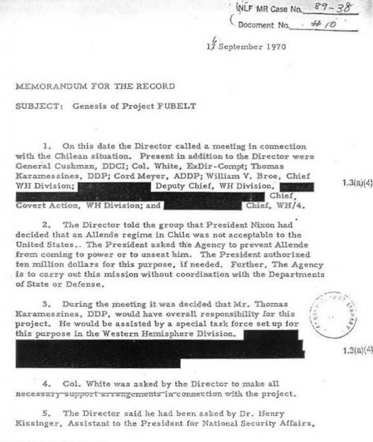 CIA memorandum on Project FUBELT, 16 September 1970.