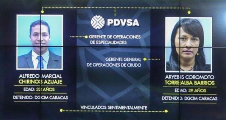 TV screenshot that identifies Alfredo Chirinos and Aryenis Torrealba. (VTV)